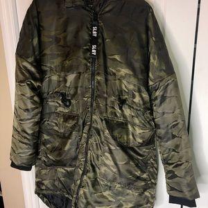 Camouflage Knee Length Coat